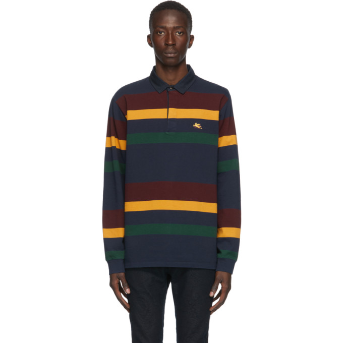 Etro Logo-embroidered Striped Cotton-jersey Polo Shirt In 200 Navy