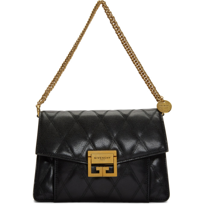 Givenchy Small Gv3 Bag In Quilted Leather In Black