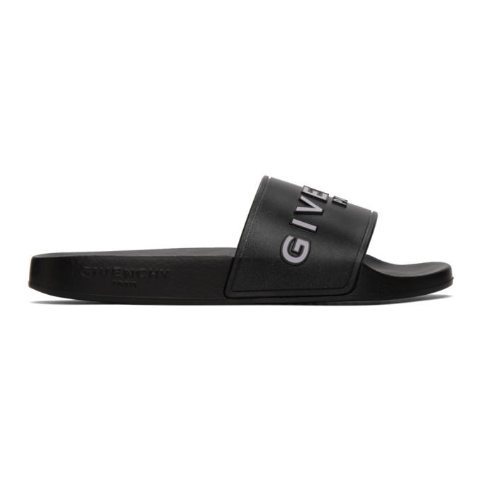 Givenchy Black And White Logo Rubber Slides In 001 Black