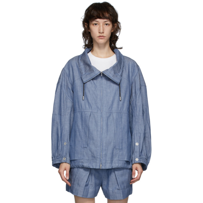 3.1 Phillip Lim Chambray Utility Sports Jacket In Ch400 Chamb