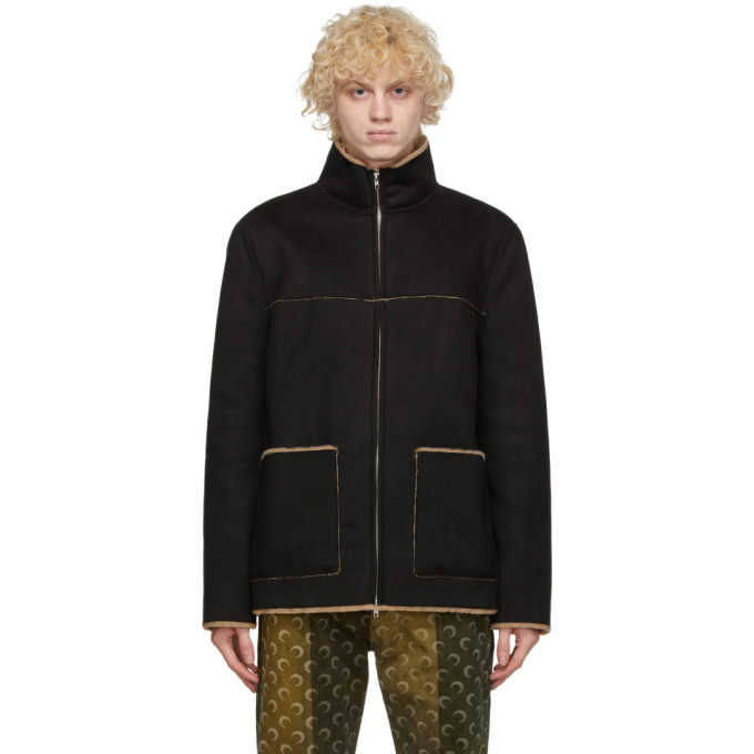 Stand Studio Calvin Faux Shearling Jacket In 89900 Dpblk
