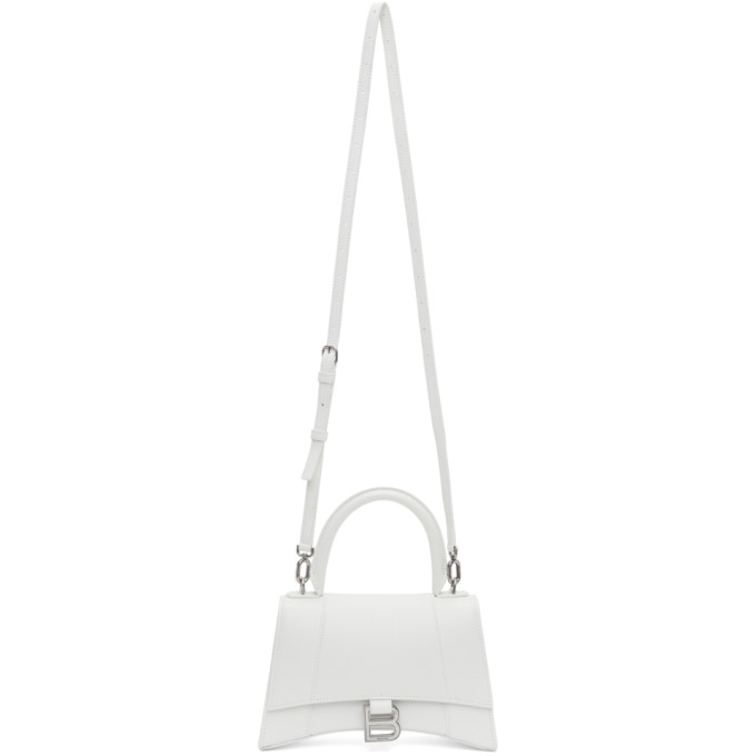 Balenciaga Women's Hourglass Leather Top Handle Bag In 9000 White
