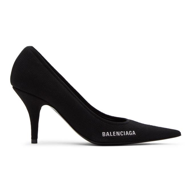 Balenciaga Women's Knife Knit Pointed Toe Pumps In 1090 Black/