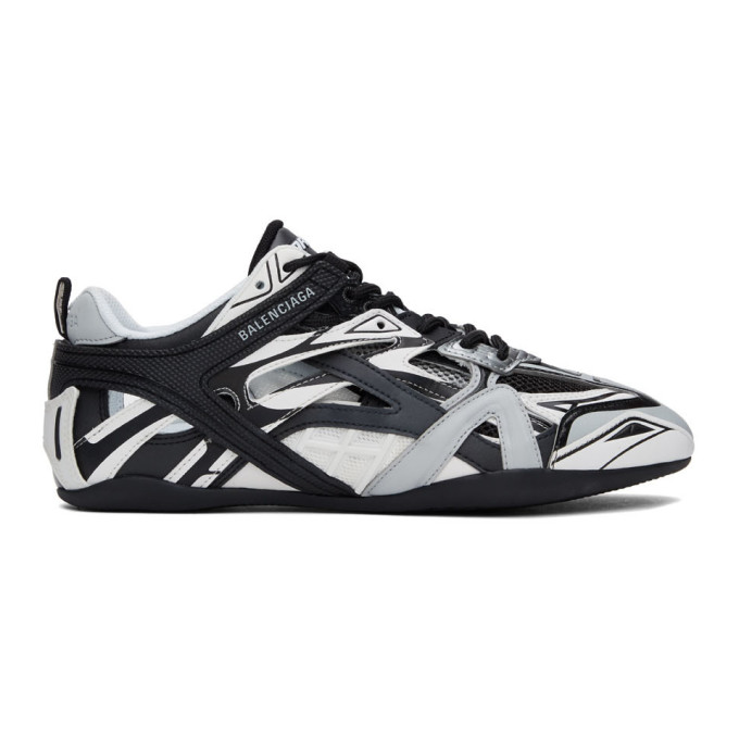 Balenciaga Drive Monochrome Panelled Faux-leather Sneakers In Grey/black