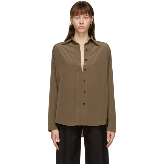 Eftychia Brown Satin Shirt In Khaki