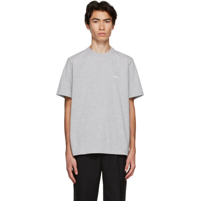 Stussy Embroidered Logo T-shirt In Gry Heathr