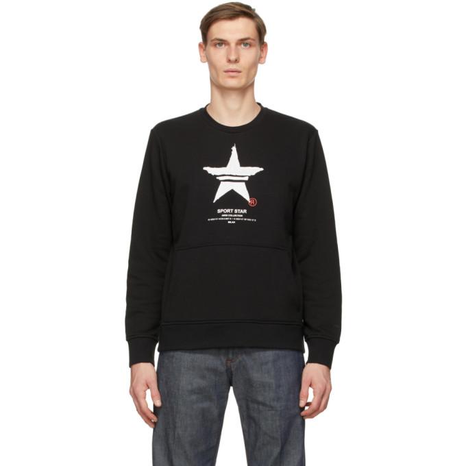 Neil Barrett Sport Star Print Sweatshirt In 1133 B/wh/r