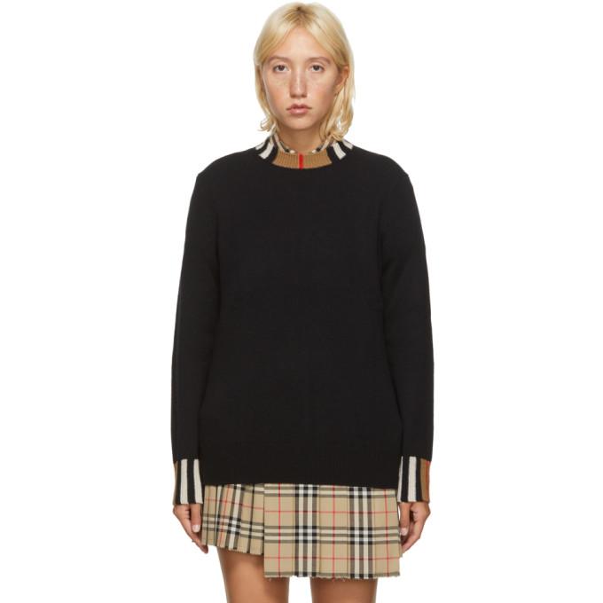 Burberry Black Eyre Icon Stripe Trim Cashmere Sweater In A1189 Black