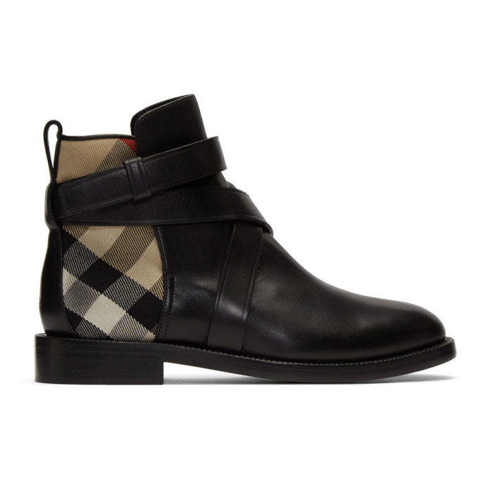 Burberry Strap Detail House Check And Leather Ankle Boots In Blk/archive