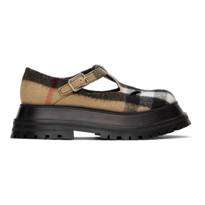 Burberry Brown Beige Aldwych Vintage Check T-bar Shoes In Archive Beige