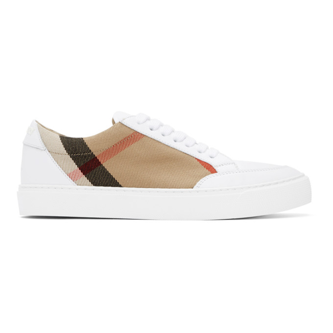 Burberry House Check Leather-trimmed Sneakers In White