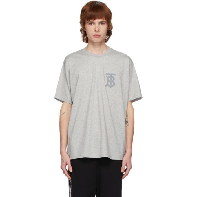 Burberry Men's Emerson Tb Monogram T-shirt In Pale Grey M