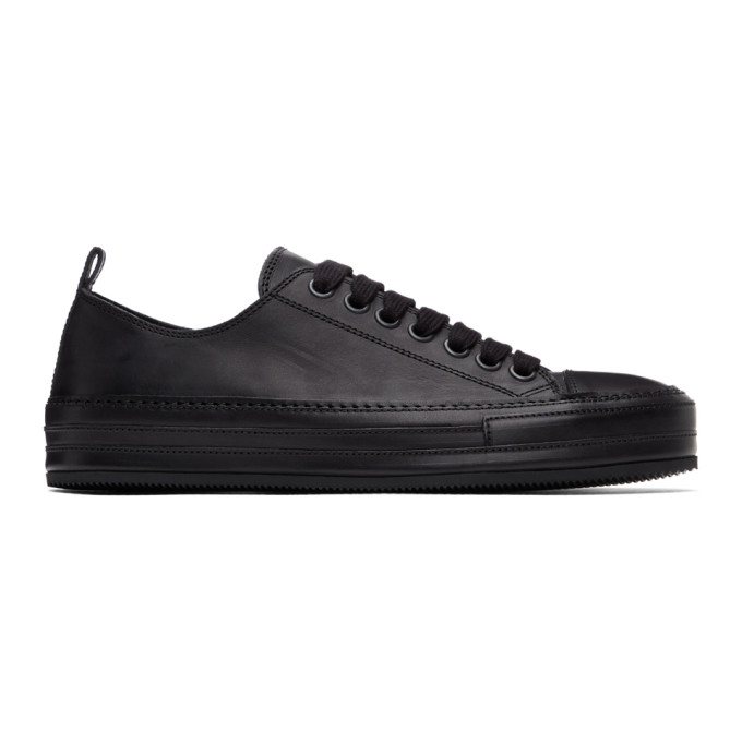 Ann Demeulemeester Leather Low Sneakers In Vitello Ner