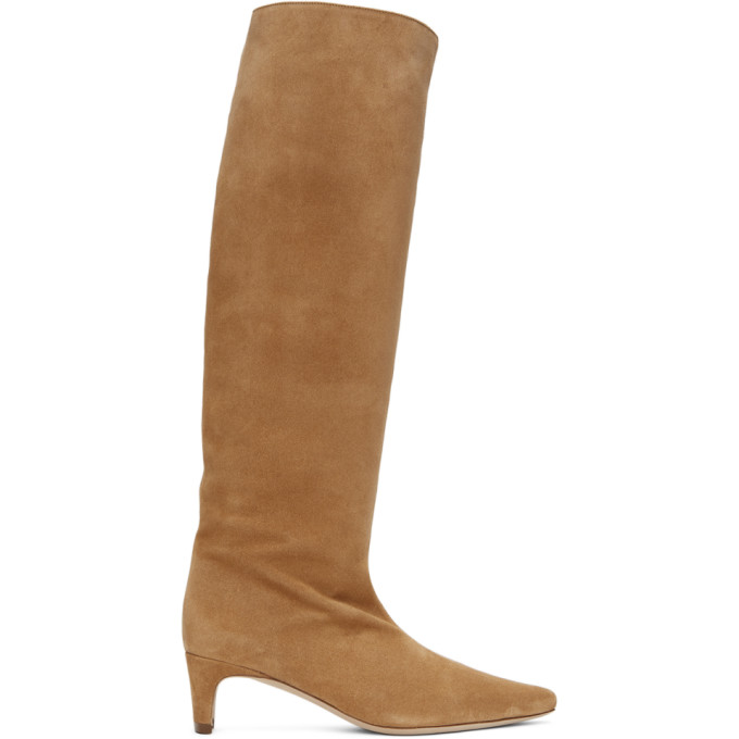 Staud Wally Camel Suede Knee-high Boots In Oat