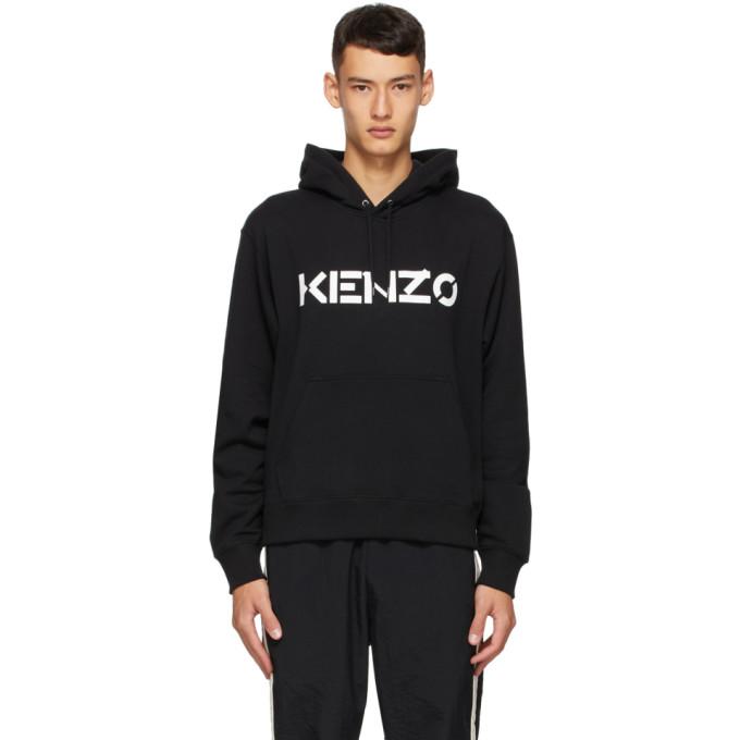 Kenzo Felpa Con Cappuccio In Cotone Con Logo In 99 Black