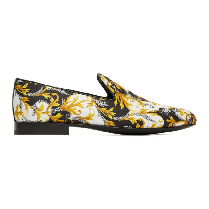 Versace White Multicoloured Baroque Print Silk Loafers In Dbn9 White