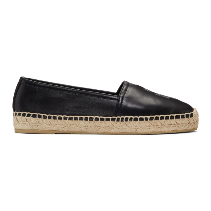 Saint Laurent Black Metallic Leather Espadrilles With Logo