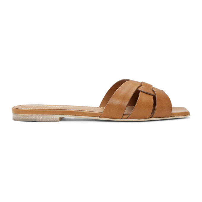 Saint Laurent Nu Pieds Woven Leather Slides In Brown
