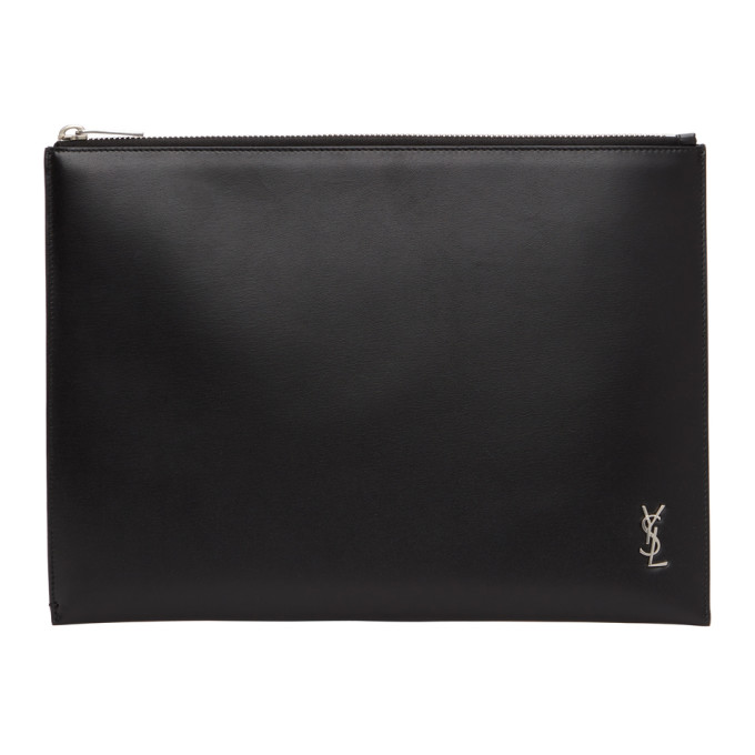Saint Laurent Black & Silver Tiny Monogram Tablet Pouch In 1000 Nero