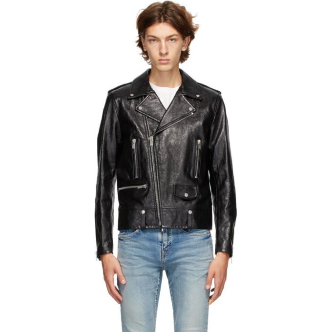 Saint Laurent Black Leather Classic L01 Motorcycle Jacket In 1000 Black