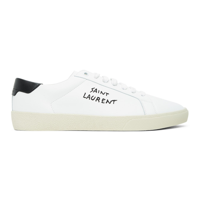Saint Laurent White Court Classic Sl / 06 Man Sneakers With Embroidery In 9061 White