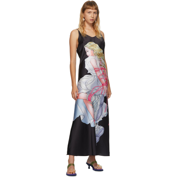 Im Sorry By Petra Collins Ssense Exclusive Black Print Slip Dress In Black/print