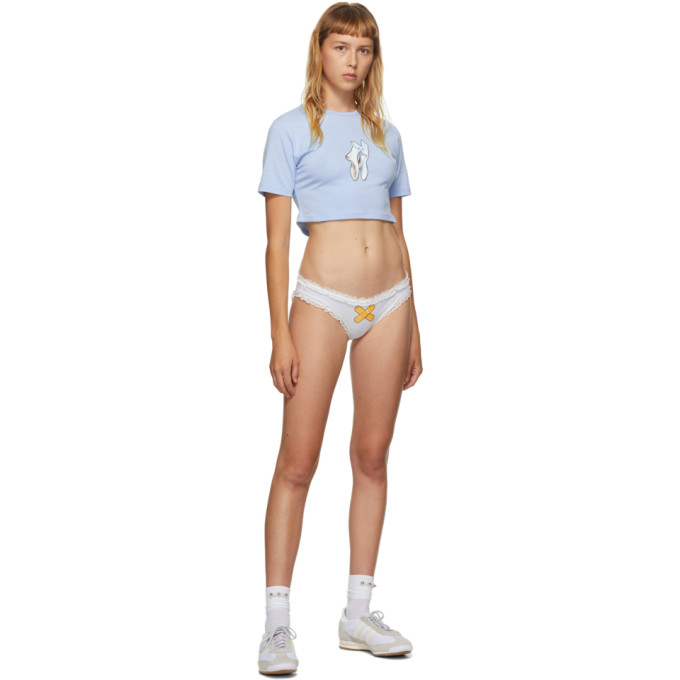Im Sorry By Petra Collins Ssense Exclusive Blue And White Socks T-shirt And Briefs Set In Blue White
