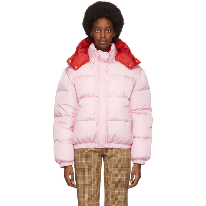 Msgm Hooded Down Jacket In 12 Pink