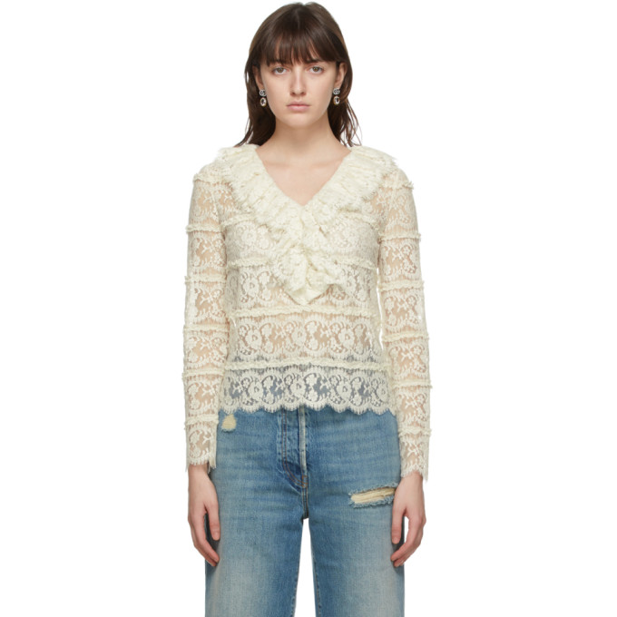 Gucci Women's Ruffle Neck Floral Lace Blouse In 9200 Ivory