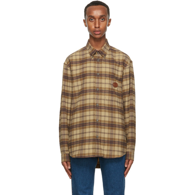 Gucci Plaid Logo Leather Patch Flannel Button-down Shirt In Brown