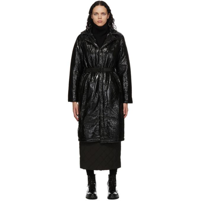 Rains Belted Padded Crinkled Glossed-shell Coat In Black