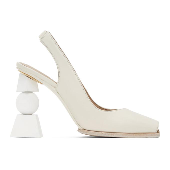 Jacquemus White Les Chaussures Valerie 105 Leather Pumps