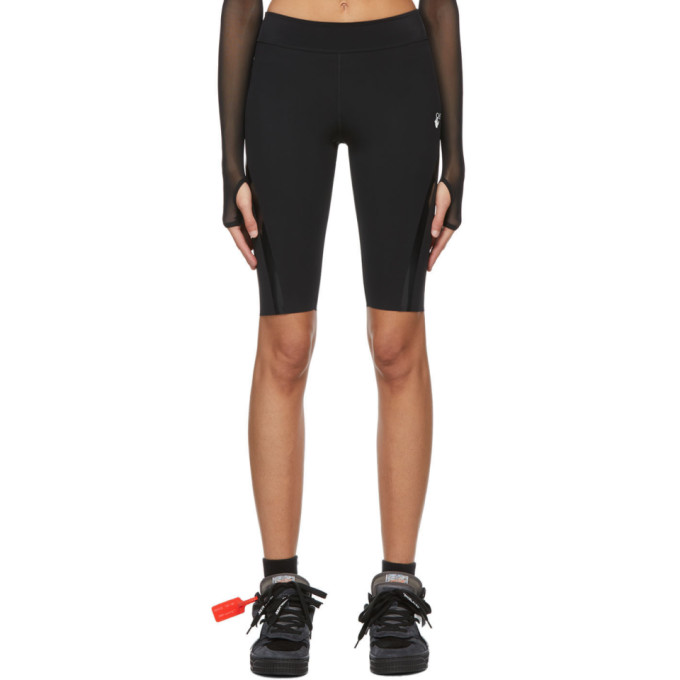 Off-white Athleisure Branded High-rise Sports-jersey Cycling Shorts In Black