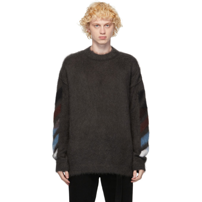 Off-white Diagonal Brushed Mohair Sweater In 0987 Grey