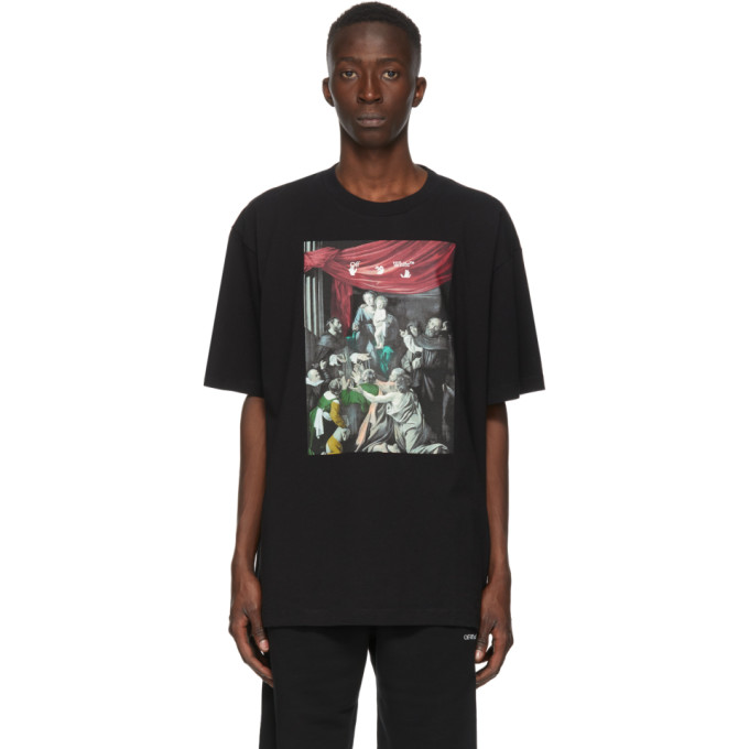 Off-white T-shirt Caravaggio Painting In Cotone In Black