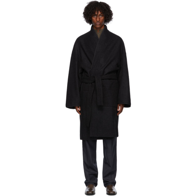 Lemaire Wool Wrap Coat In 999 Black