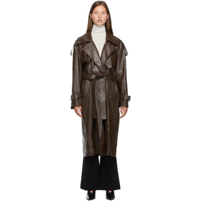 Low Classic LOW CLASSIC BROWN FAUX-LEATHER TRENCH COAT