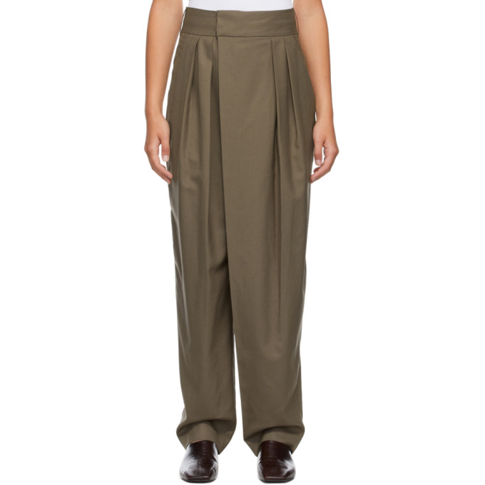 Low Classic LOW CLASSIC KHAKI CLASSIC WIDE TUCK TROUSERS
