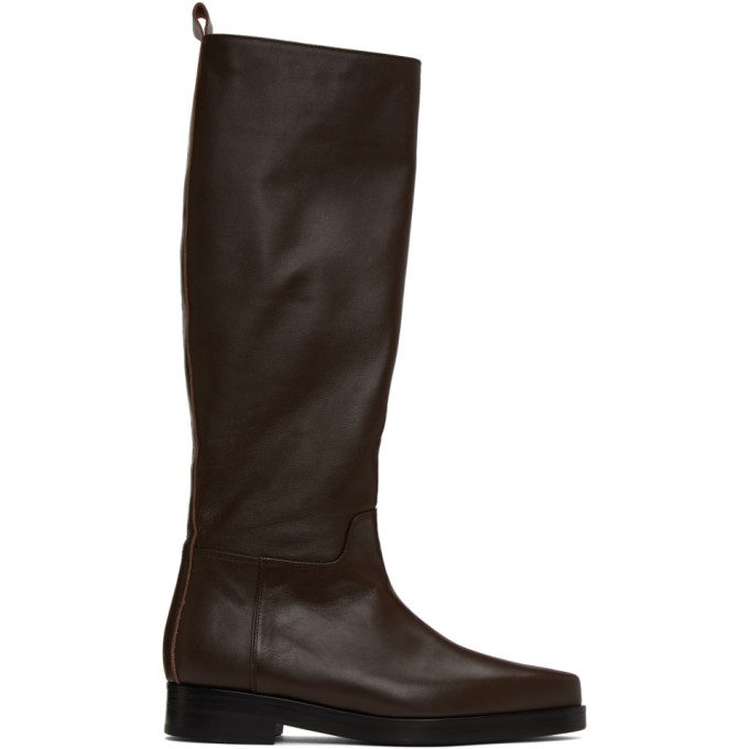 Low Classic Western Brown Leather Knee-high Boots In Dk Brown