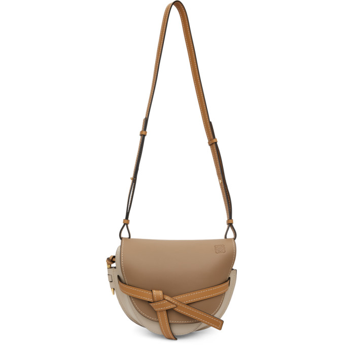 Loewe Brown Gate Small Leather Cross Body Bag In Neutrals