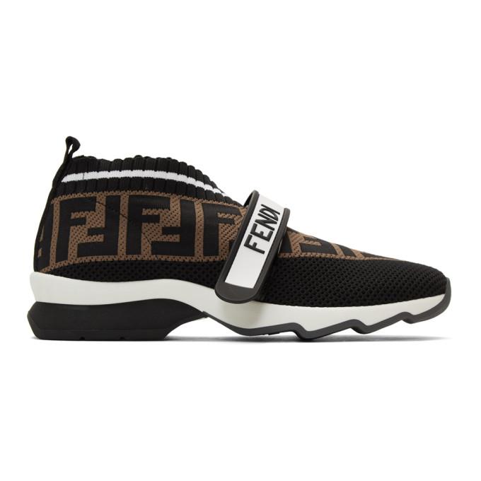 Fendi Rockoko Logo-jacquard Stretch-knit And Mesh Slip-on Sneakers In Black