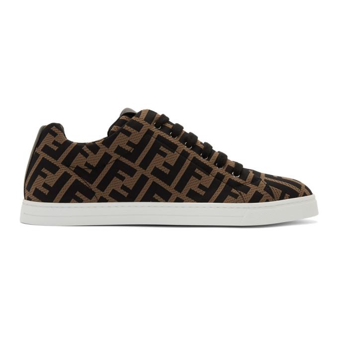 Fendi Leather-trimmed Logo-jacquard Mesh Sneakers In F0r7r - Bro