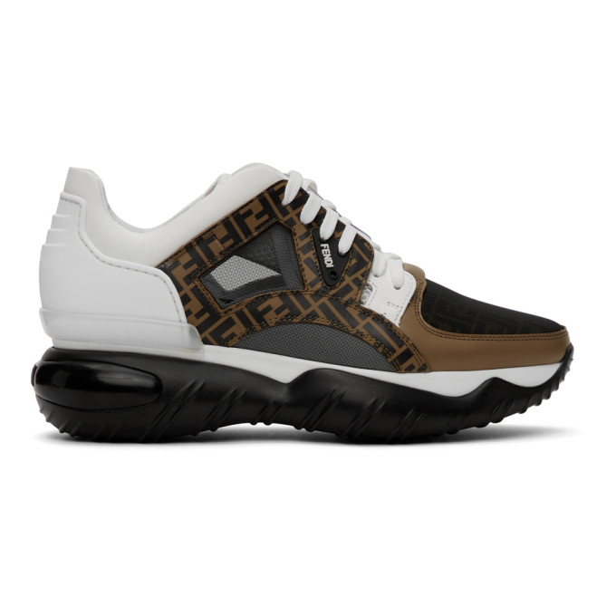 Fendi Ff Low-top Leather And Mesh Trainers In F15v9 Tobac
