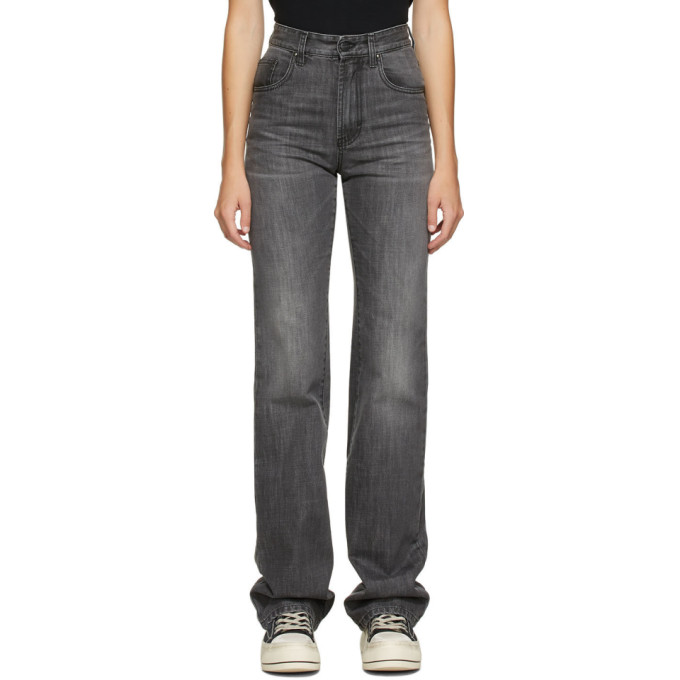 Palm Angels Faded Flared Jeans In Grey In Dk Grey
