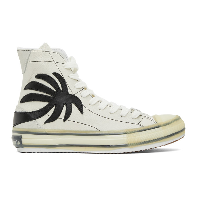 Palm Angels White Palm Vulcanized High Top Sneakers In White/black