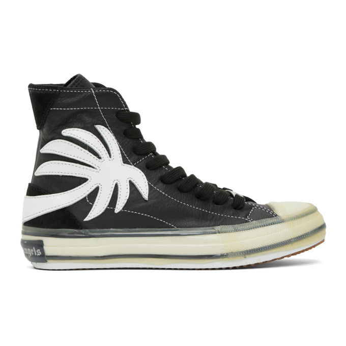 Palm Angels Black Palm Vulcanized High Top Sneakers In Black/white