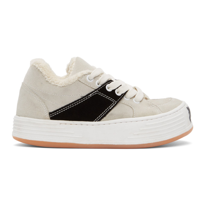 Palm Angels Off-white Suede Snow Low Top Sneakers In White/black