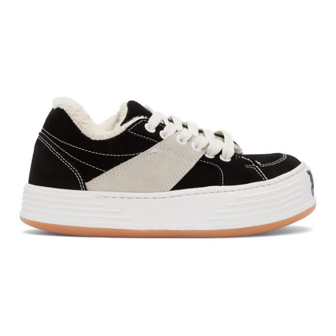 Palm Angels Logo-print Low-top Sneakers In Black/white