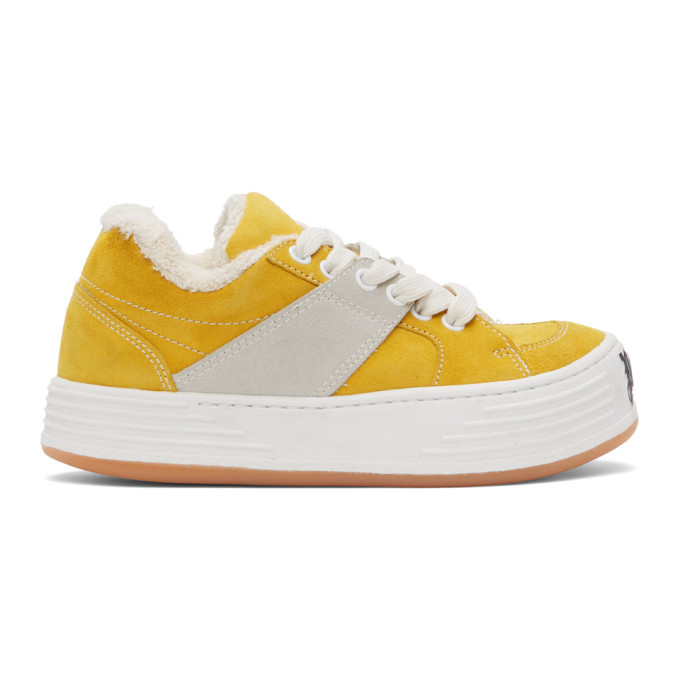 Palm Angels Low Top Sneakers In Yellow In Ochre/yellow