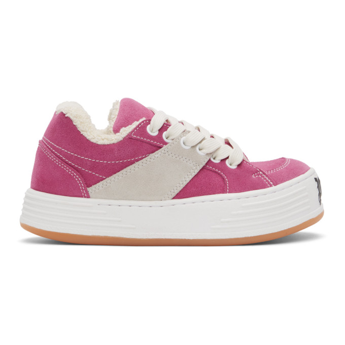 Palm Angels Logo-print Low-top Sneakers In Pink/white